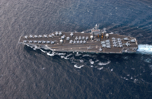 Aerial View Of The U.s. Navy Nuclear Powered Aircraft Carrier Uss Harry S. Truman (cvn 75) Image
