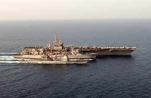 Uss Nimitz (cvn 68), Uss Princeton (cg 59), And Uss Bridge (aoe 10) Participate In An Underway Replenishment (unrep). Image