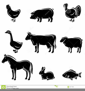 Free Black And White Farm Animal Clipart Image