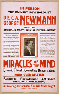 In Person The Eminent Psychologist, Dr. C.a. George Newmann Presenting America S Most Unusual Entertainment Miracles Of The Mind ....  Image