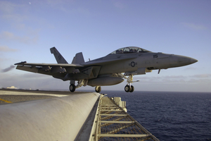A F/a-18f Super Hornet  Launches Off The Flight Deck Of Uss John C. Stennis (cvn 74) During A Scheduled Training Exercise Image