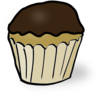 Chocolate Iced Cupcake Clip Art