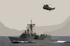 The Guided Missile Frigate Uss Nicholas (ffg 47) And A Helicopter From The Spanish Frigate Sps Navarra (f-85) Track A Simulated Cargo Vessel. Clip Art