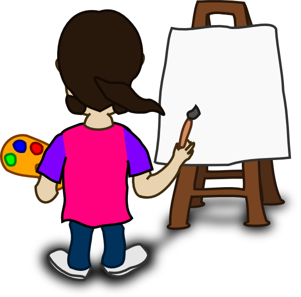 Cartoon Character Painting Blank Slate Clip Art At Clkercom