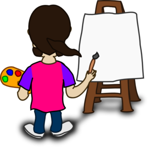 Cartoon Character Painting Blank Slate Clip Art