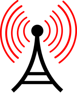 Radio Antenna Red Waves Clip Art