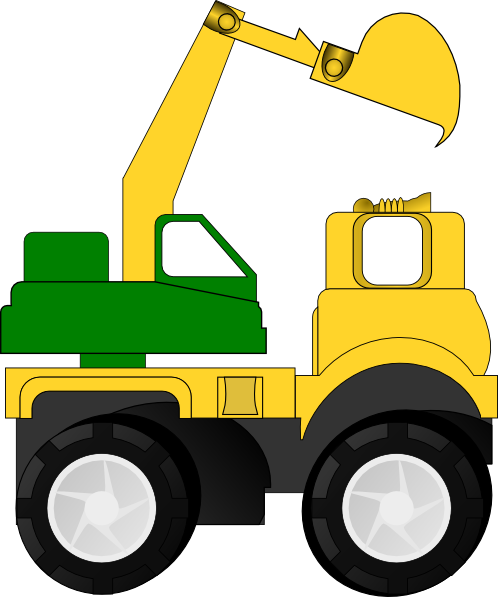 Clipart Cartoon Excavator on end dump tractor trailer