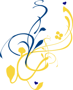 Blue And Gold Branch (right Side) Clip Art