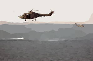 A British Royal Navy Gkn Westland Lynx Hma Mk. 8 Helicopter Acts As Plane Guard For An Mh-53 Sea Dragon Helicopter Assigned To The  Vanguards  Of Helicopter Mine Countermeasures Squadron Fourteen (hm-14). Clip Art