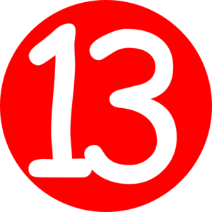 Red, Rounded,with Number 13 2 Clip Art