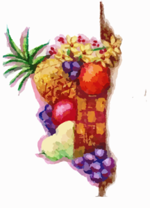 Still Life Fruit Basket Clip Art
