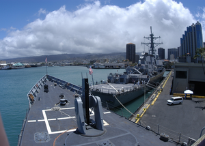 The Guided Missile Frigate Uss Reuben James (ffg 57) And The Guided Missile Destroyer Uss Hopper (ddg 70) Sit Pierside Image