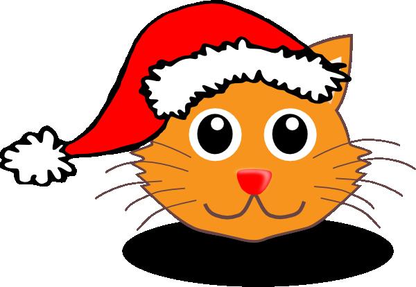 Cat With Santa Hat Cartoon