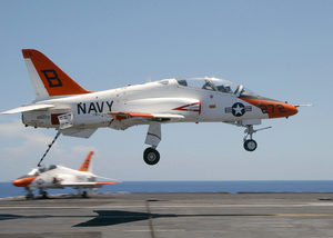 A T-45c Goshawk Assigned To Training Squadron Seven (vt-7) Makes An Arrested Landing Aboard Uss Harry S. Truman (cvn 75) Image
