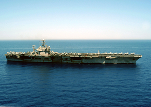 The Aircraft Carrier Uss Theodore Roosevelt (cvn 71) Steams Through The Mediterranean While Conducting Combat Missions In Support Of Operation Iraqi Freedom Image