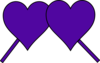 Purple Hearts Down Lines Clip Art