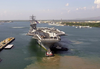 Uss Nimitz (cvn 68) And Her Embarked Air Wing, Carrier Air Wing Eleven (cvw-11) Pull Into Naval Base Pearl Harbor, Hawaii Image