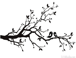 Cherry Blossom Branch Bird Vinyl Wall Decal Wd F Image