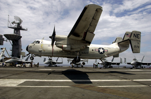 A C-2 Greyhound Makes An Arrested Landing On The Flight Deck Aboard Uss John C. Stennis (cvn 74) Image