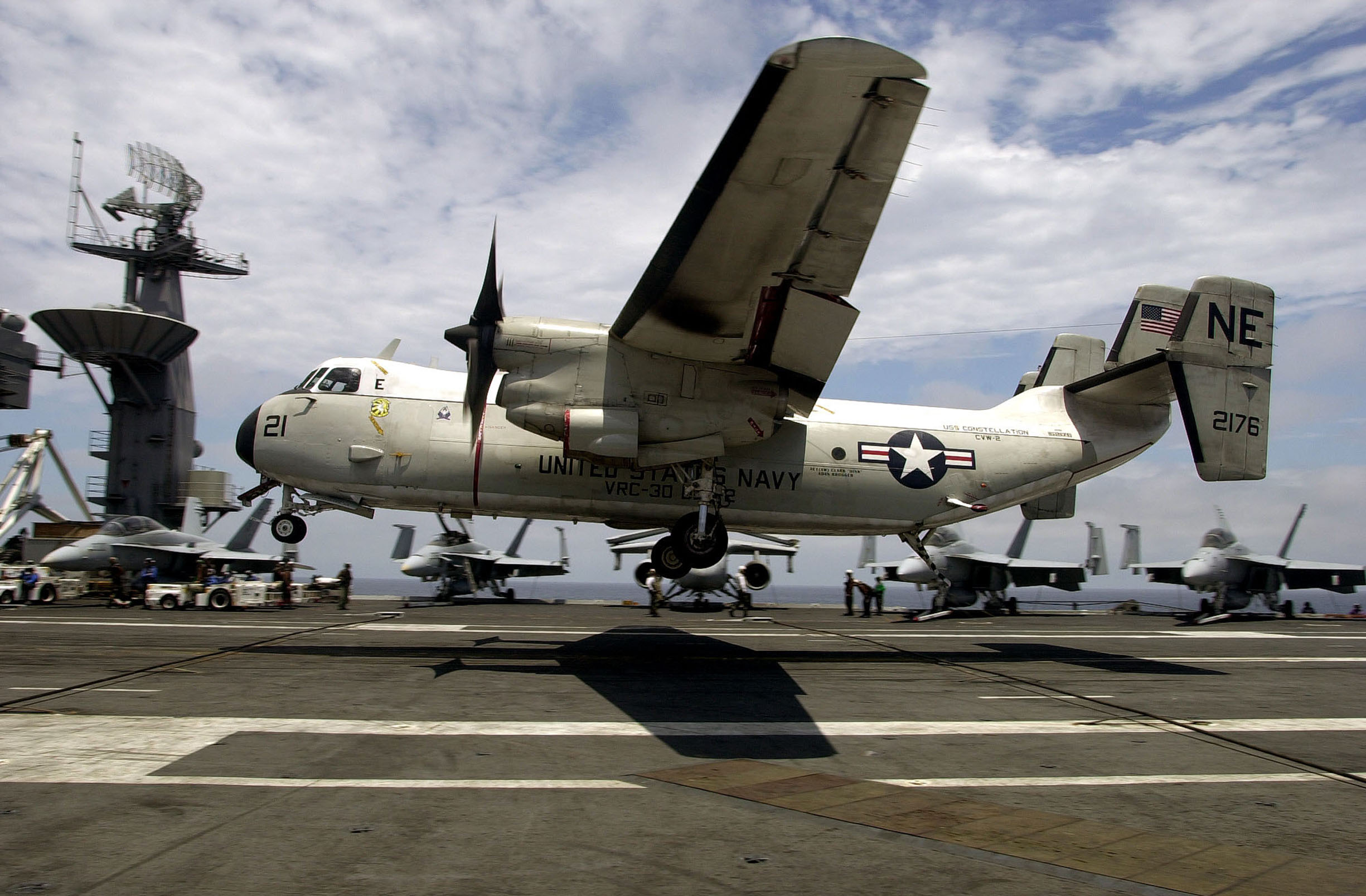 A C-2 Greyhound Makes An Arrested Landing On The Flight Deck ...