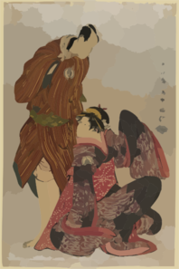 Bando Hikosaburō Iii In The Role Of Obi-ya Chōeimon And Iwai Hanshirō Iv In The Role Of Shinano-ya Ohan. Clip Art