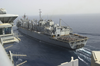 Uss Nimitz (cvn 68) Approaches Uss Bridge (aoe 10) To Begin An Underway Replenishment (unrep) Image