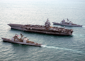 The Guided Missile Cruisers Uss Philippine Sea (cg 58) And Uss Gettysburg (cg 64) Steam Alongside Uss Enterprise (cvn 65). Image
