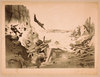 [explosion In Rock Formation With People Running, Man Diving Into Water, And Woman In Water] Image