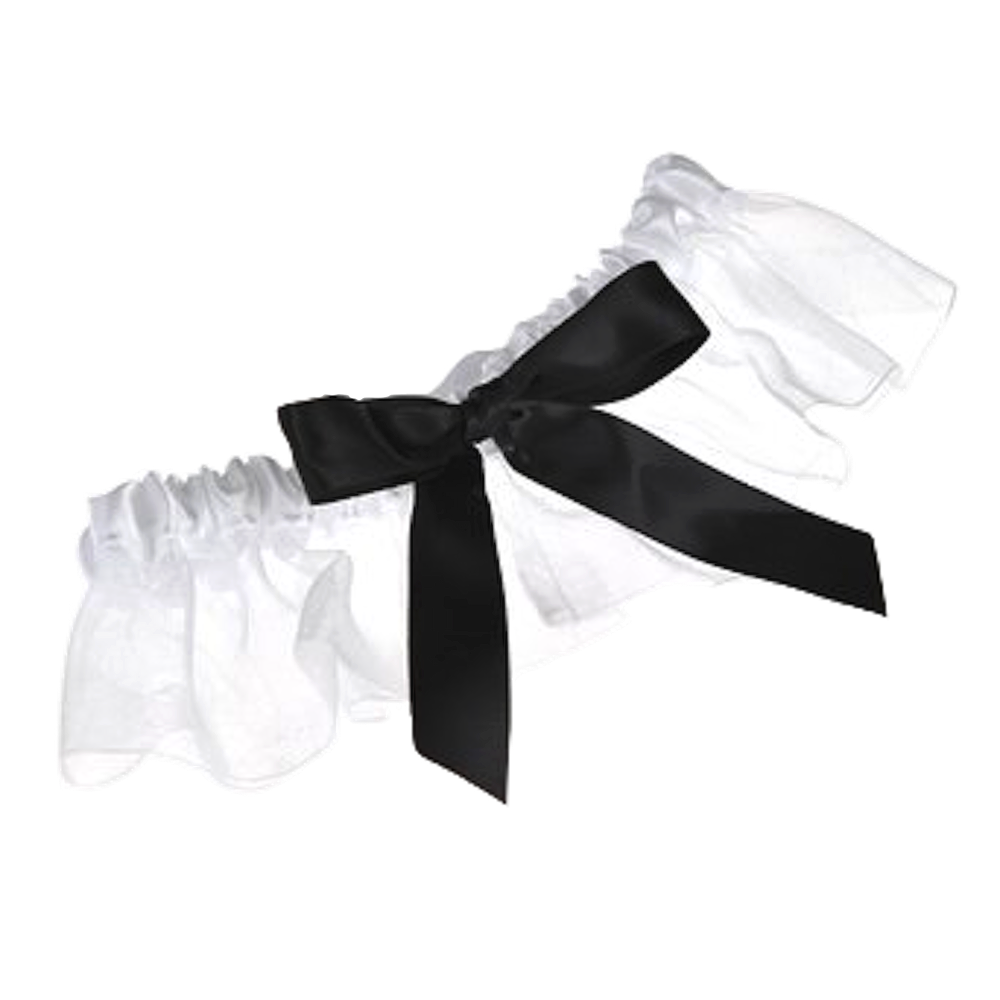 Topwedding White Organza Wedding Garter With Black