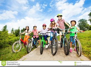Children Riding Bikes Clipart Image