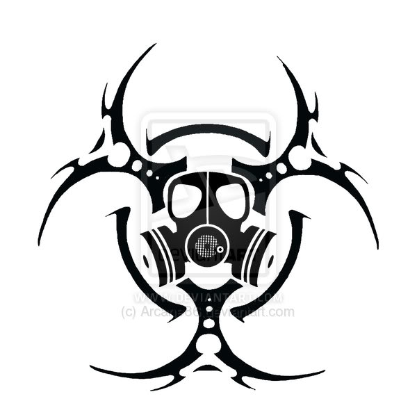 Toxic Symbol Black And White Bio Hazard Gasmask By ...