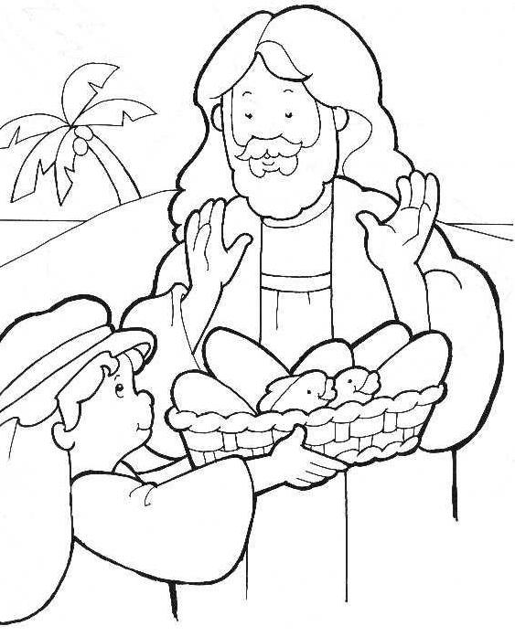 two fish and five loaves of bread coloring page - boy sharing loaves and fishes free images at