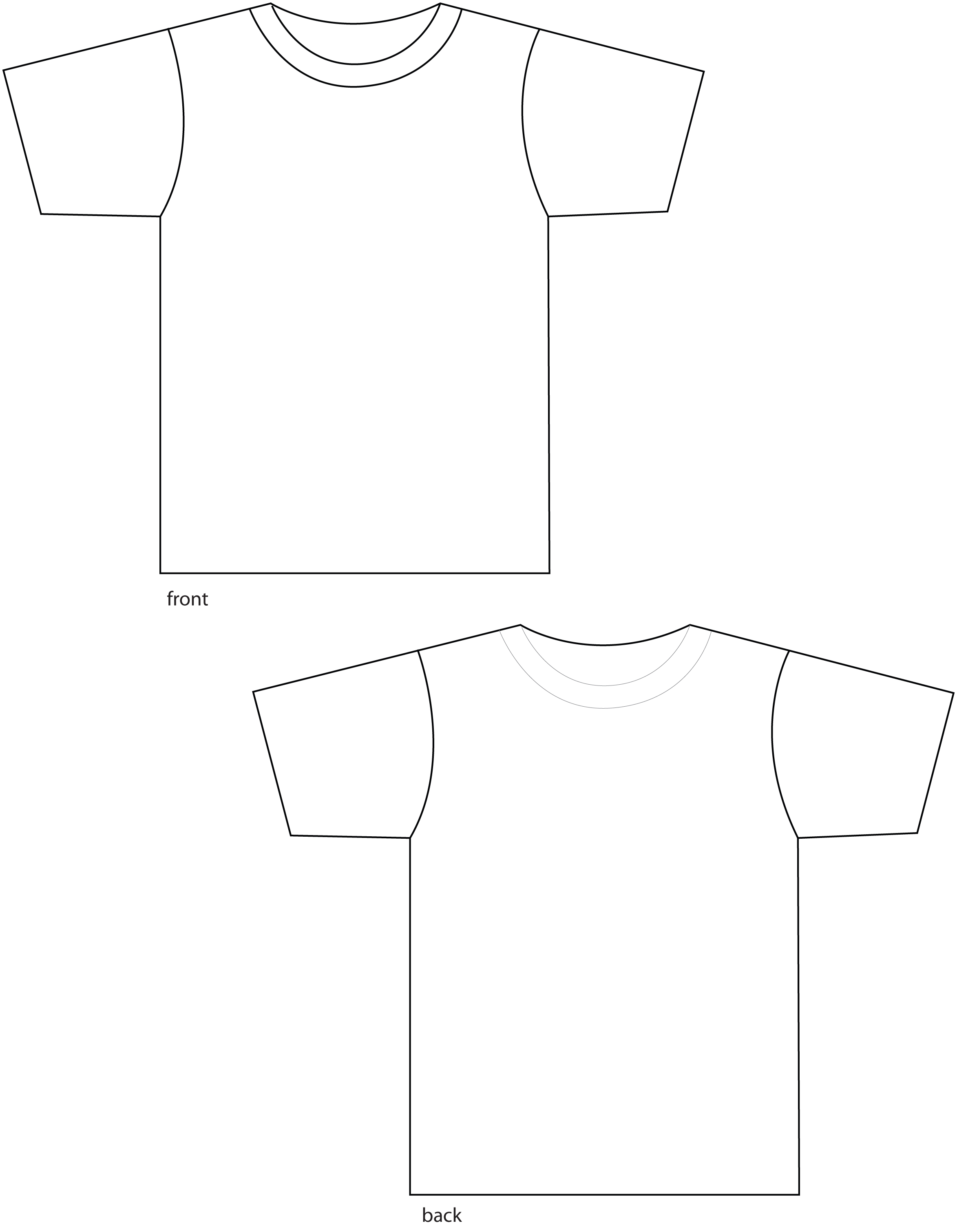 Black t shirt back and front plain - Shirttemplate Image