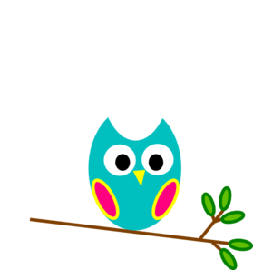 Teal And Pink Owl Clip Art