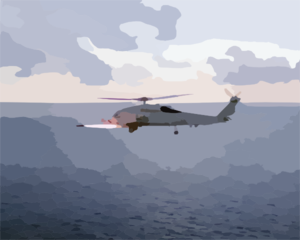 Sh-60b Helicopter Fires Agm-114 Clip Art