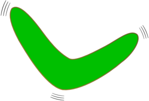 Green Vibrating Boomerang Clip Art