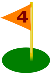 Golf Flag 4th Hole Bold Number Clip Art
