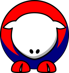 Sheep - White Red Blue No Eyeballs  Clip Art