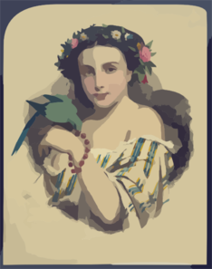 Woman With Dove Wearing Flowers Clip Art