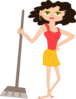 Young Housekeeper Girl With Broomstick Clip Art