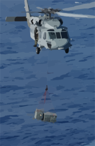 An Mh-60s Knighthawk  Transports Ammunition From The Uss Harry S.truman (cvn 75) To The Military Sealift Command Ammunition Ship Usns Mount Baker (t-ae 34) During An Ammo Off-load Clip Art