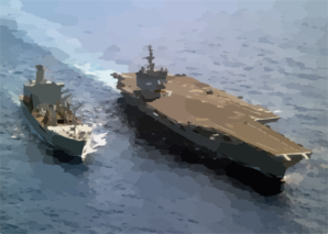 The Uss Enterprise (cvn 65) Steams Alongside The Military Sealift Command Fast Combat Support Ship Usns Leroy Grumman (t-ao 195) During An Underway Replenishment (unrep) Clip Art