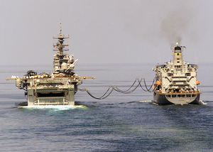 Amphibious Assault Ship Uss Bataan Takes On Fuel And Supplies From The Fleet Oiler Usns John Ericsson Image