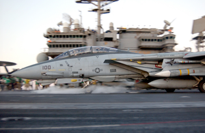 An F-14a Tomcat Launches From The Flight Deck Of Uss Kitty Hawk (cv 63) Image