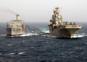 Uss Tarawa (lha 1) Receives Fuel During An Underway Replenishment With The Military Sealift Command (msc) Oiler Usns Yukon (t-ao 202) Image