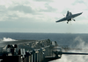 An F/a-18c Hornet Launches From The Flight Deck Image