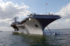 Uss Harry S. Truman (cvn 75) Anchors Out Of Portsmouth, England, While Her Sailors And Marines Enjoy Liberty During The Port Visit Image