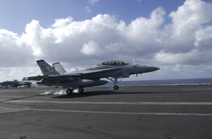 An F/a-18f Super Hornet Attached To The  Black Aces  Of Strike Fighter Squadron Forty One (vfa-41) Image