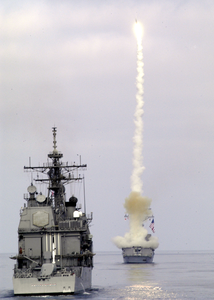 Uss Preble (ddg 88) Fires A Surface-to-air Sm2 Missile While Conducting Missile-firing Exercises Off The Coast Of Southern California Image