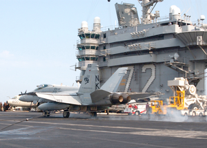 Hornet Makes An Arrested Landing On The Flight Deck Image